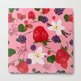 Strawberry, Blackberry and Vanilla Flower. Red Berries Pattern Metal Print