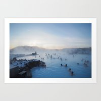 golden hour at the blue lagoon Art Print