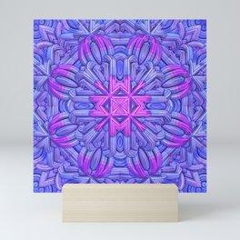 Eight-sided Mandala in blue and fuchsia tones Mini Art Print