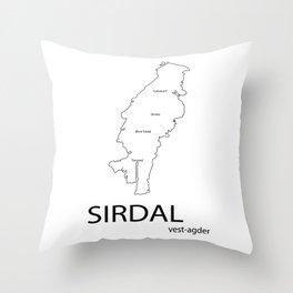 map of sirdal Throw Pillow