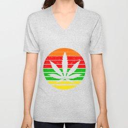 MARIJUANA LEAF Gifts For Stoner Cannabis 420 Unisex V-Neck