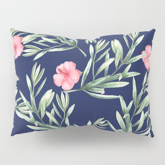 Delicate Hibiscus Blue Pillow Sham