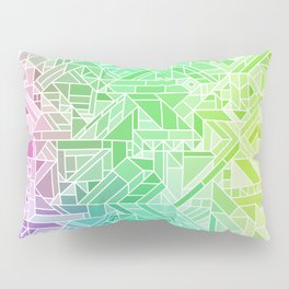 Bright Gradient (Violet Purple Lime Green Neon Yellow) Geometric Pattern Print Pillow Sham