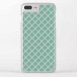Christmas Green Holly and Ivy Tartan Check Plaid Clear iPhone Case