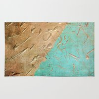 copper Area & Throw Rugs featuring Copper Rain by Lisa Argyropoulos