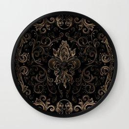 Fleur-de-lis ornament Black and Gold Wall Clock