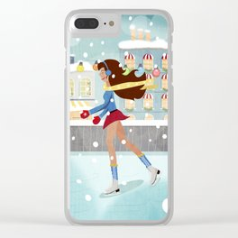 Ice Skating Girl Clear iPhone Case
