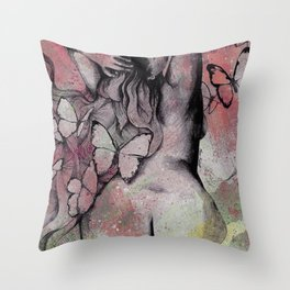 Sugar Coated Sour: Pomegranate (nude curvy pin up with butterflies) Throw Pillow