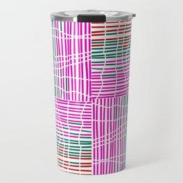 Red, Teal, Pink Vein and Stripe Patterns Travel Mug