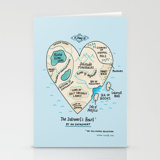 The Introvert's Heart Stationery Cards