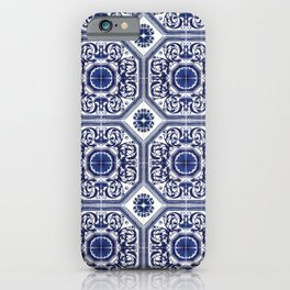 Portuguese Tiles Azulejos Blue and White Pattern iPhone Case