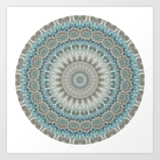 Grey, Blue and Ivory Mandala by kellydietrich