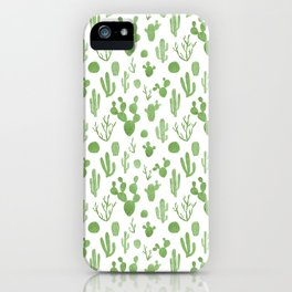 Green cacti on white iPhone Case