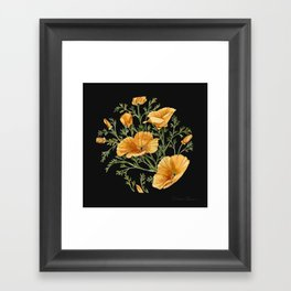 California Poppies on Charcoal Black Framed Art Print