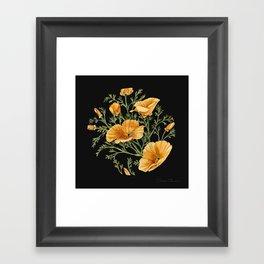 California Poppies on Charcoal Black Framed Art Print