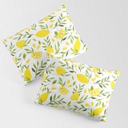 Lemon Love - Watercolor Fresh Fruit, Summer Vibes Art, Greenery Citrus Plant Pillow Sham