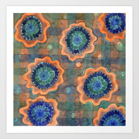 Glowing Fancy Flowers on Checks Art Print