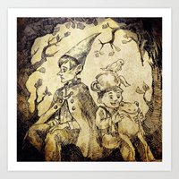 over the garden wall Art Prints featuring Over The Garden Wall by Tomatobird