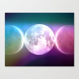Moon Triple Goddess Rainbow Canvas Print