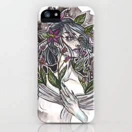 Nightshade Inktober Ink and Watercolor Illustration iPhone Case