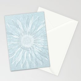 Festive, Winter, Mandala, Snowflake, Teal Blue Stationery Cards
