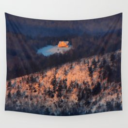 Morning Sun on the Yellow House on the Mountain Wall Tapestry