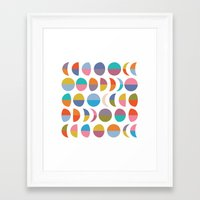 moon phases Framed Art Prints featuring Moon phases by Helene Michau