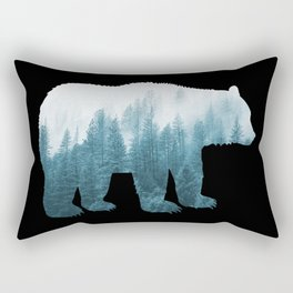 Misty Forest Bear - Turqoise Rectangular Pillow