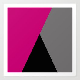 Geometric design in hot pink grey & black Kunstdrucke