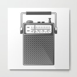 Retro portable radio. Monochrome vintage style illustration Metal Print