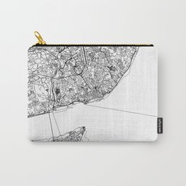 Lisbon City Map Portugal White and Black Carry-All Pouch