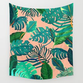 Summer Tropical Leaves Wall Tapestry
