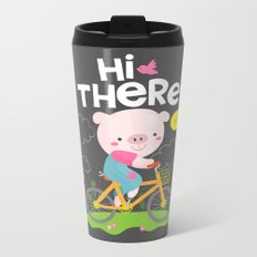 Pig on a bike Metal Travel Mug