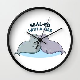 Sealed With A Kiss Cute Sea Lion Pun Wall Clock