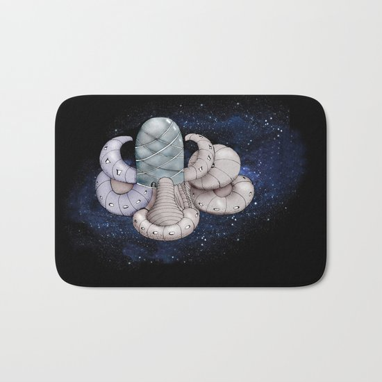 Space station from the fantastic world of the future Bath Mat