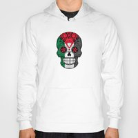palestine Hoodies featuring Sugar Skull with Roses and Flag of Palestine by Jeff Bartels