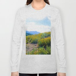 yellow poppy flower field with green leaf and blue cloudy sky in summer Long Sleeve T-shirt