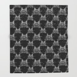 Crazy Kitten in Winter Snow on Black- Animals-Mix and Match with Simplicity of Life Throw Blanket
