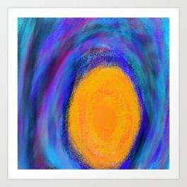 Orange circle with Dark Colored Swirls Art Print