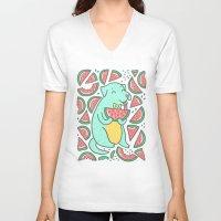daria V-neck T-shirts featuring Watermelon Dog by Anna Alekseeva kostolom3000
