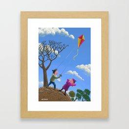 Children on hill flying kite  Framed Art Print