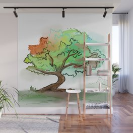 Big watercolor tree Wall Mural