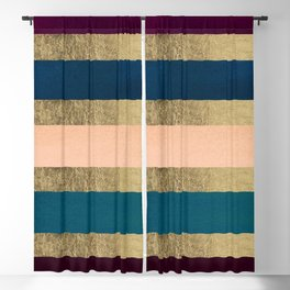 Geometrical coral navy blue burgundy gold watercolor Blackout Curtain