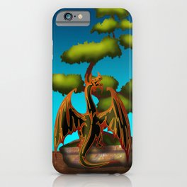 Hot Coffee with Bonsai and Fire Dragons iPhone Case