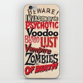 B Movie Beware iPhone Skin
