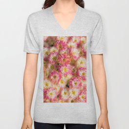 Pink and Yellow Flower Pattern (Color) Unisex V-Neck