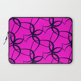Vintage background of openwork hearts. Pattern of silhouettes of black hearts on a purple background Laptop Sleeve