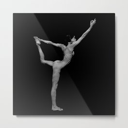 9494s-DJA B&W Slim Striped Nude Woman Elegant Yoga Pose Metal Print