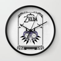 majoras mask Wall Clocks featuring Zelda legend - Majora's mask by Art & Be