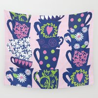 girly Wall Tapestries featuring girly teacups by MollyBroadley